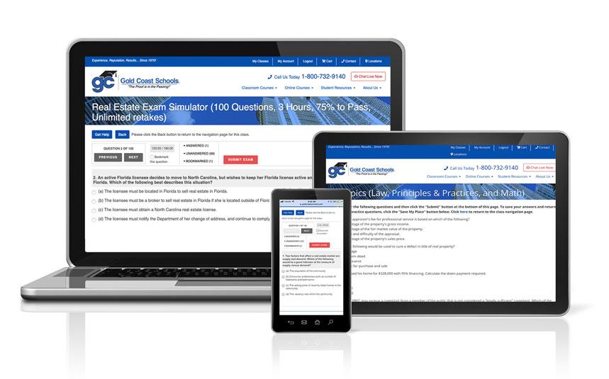 Exam prep shown on desktop, mobile and ipad.